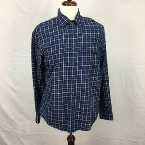 Land's End Navy Check LS Button Down Shirt
